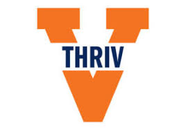 THRIV in orange V logo