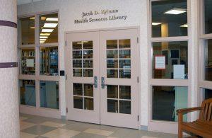 Front door of Jacob D Zylman Health Sciences Library