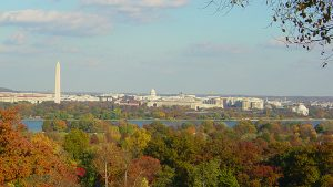 view of washington dc from across the Potomac