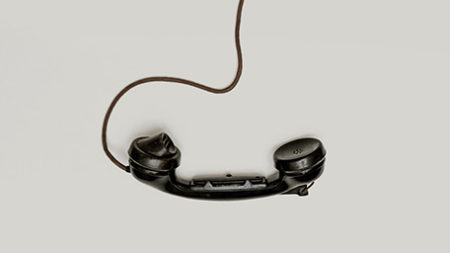 Black corded phone