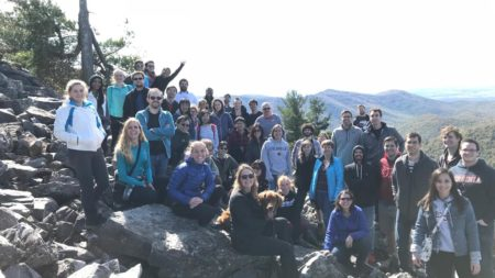 Picture of UVA B.I.G researchers and students on a hike in the blue ridge mountains.