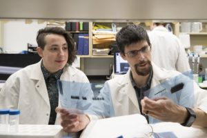Picture of UVA's Dr. Alban Gaultier and Dorian Rosen in the laboratory.