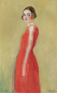 painting of woman in red dress
