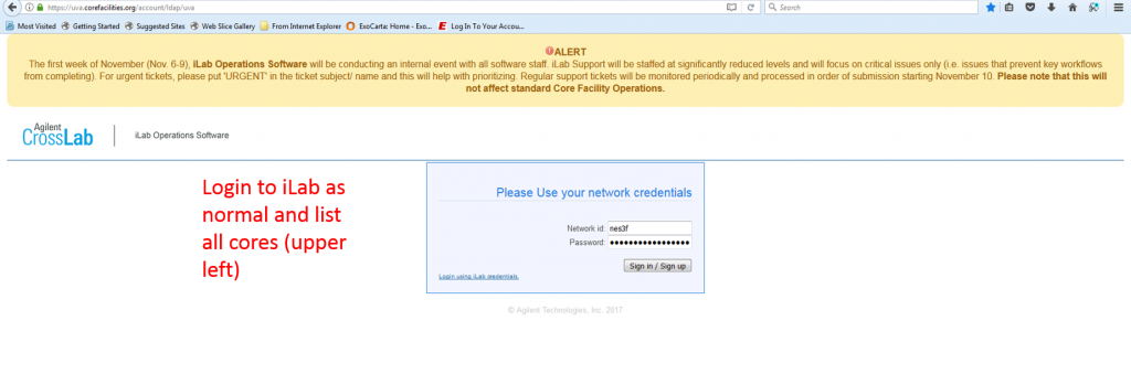 iLab login page