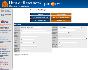 Image: UVA Human Resources computer screen capture