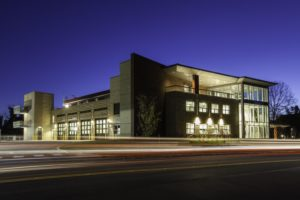 photo of a Charlottesville Fire Department station at night