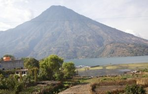 view of a volcano and lake in Guatemala