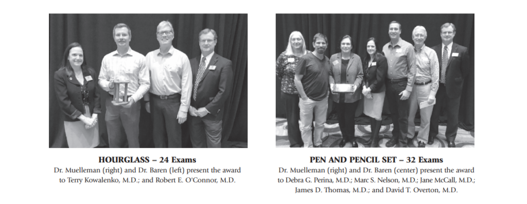 O'Connor and Perina received oral examiner awards from ABEM