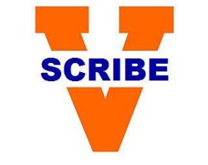 "university split v logo with text ""scribe"""