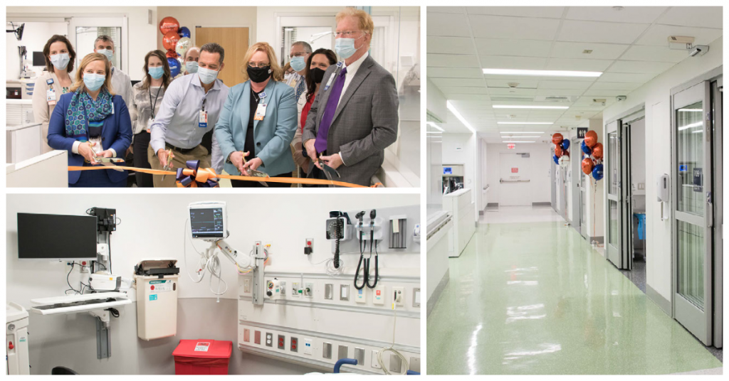 Image shows hospital and ED leadership cutting ribbon at the opening ceremony as well as a hallway and a patient room in the new ED expansion.