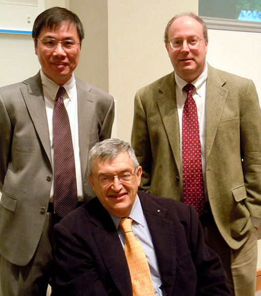 (l-r) Division of Endocrinology chief Zhenqi Liu; former Endo chief and eminent endocrinologist and researcher Michael Thorner; Dept. of Medicine chair Mitch Rosner.