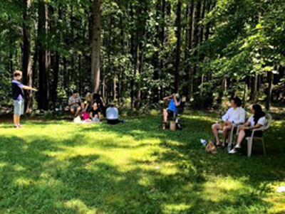 Outdoor gathering for UVA Palliative Care fellows, faculty and their families.