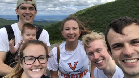 Group of UVA Generalist Scholars on a hike in the Blue Ridge Mountains.