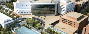 Aerial picture of UVA medical center.