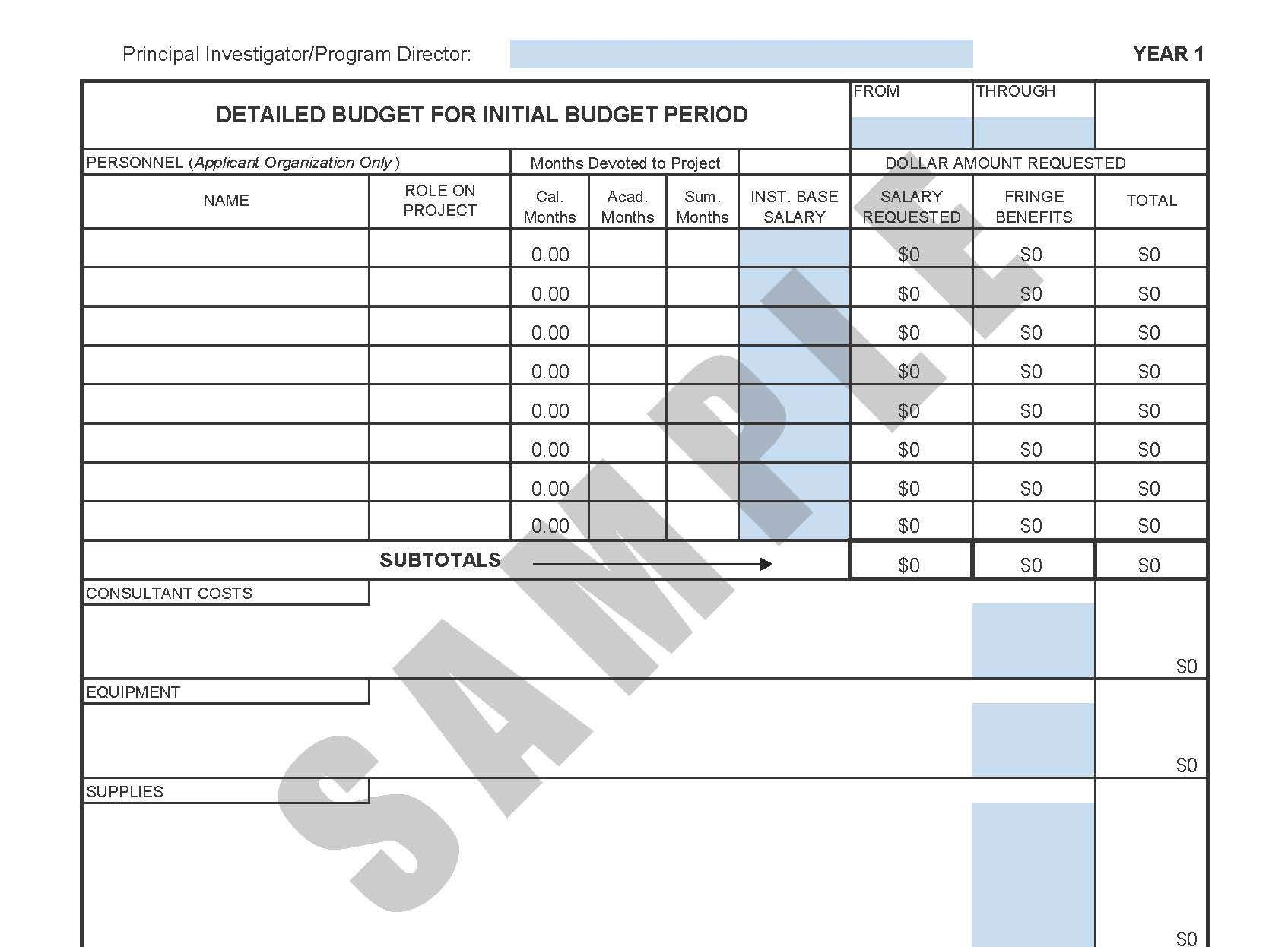Templates Resources – Sample Grant Budget Template