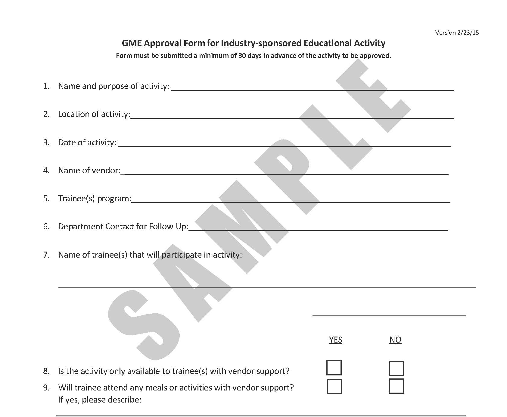 GME Approval Form for Industry-sponsored Educational Activity