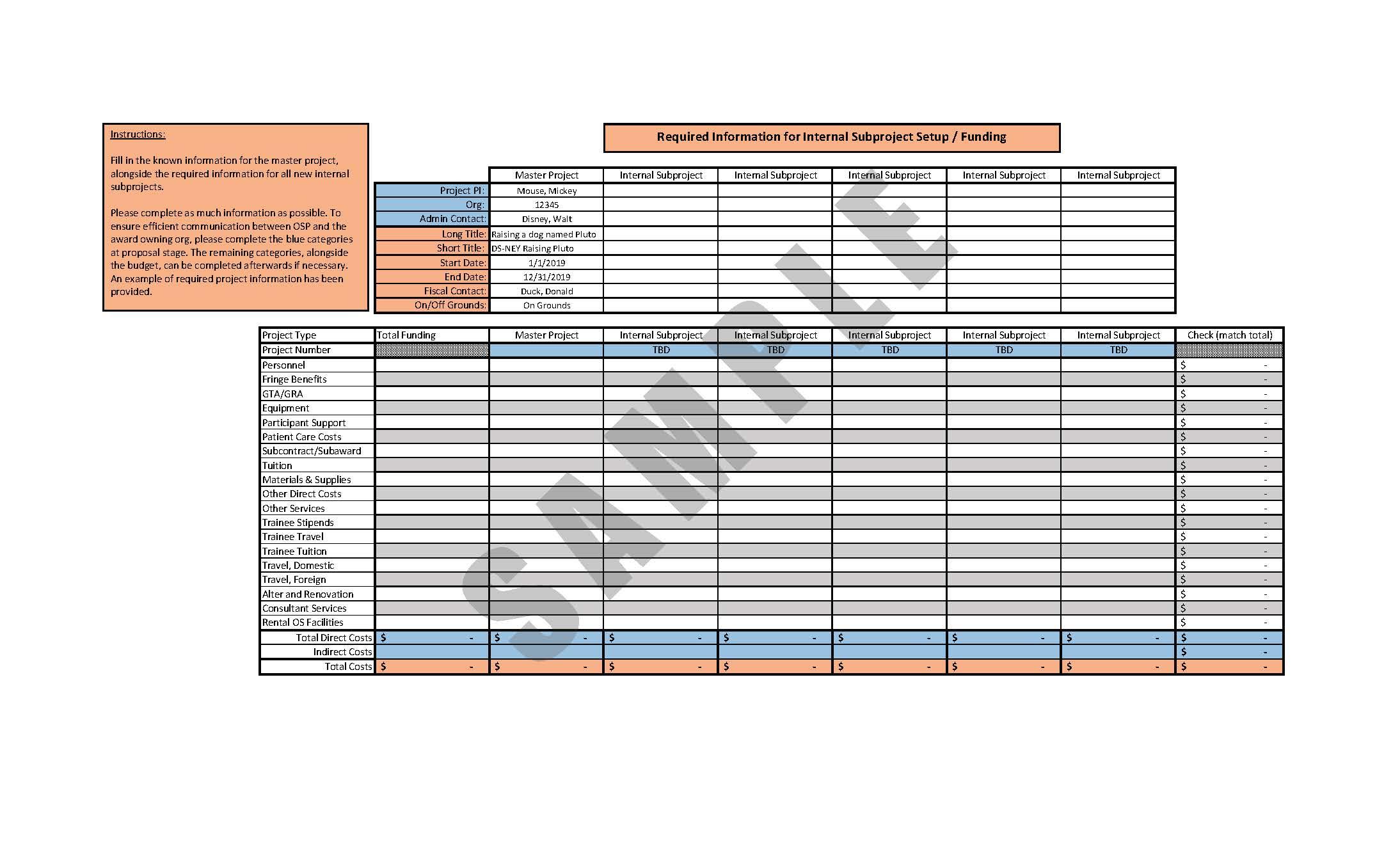Internal Subproject Setup Spreadsheet