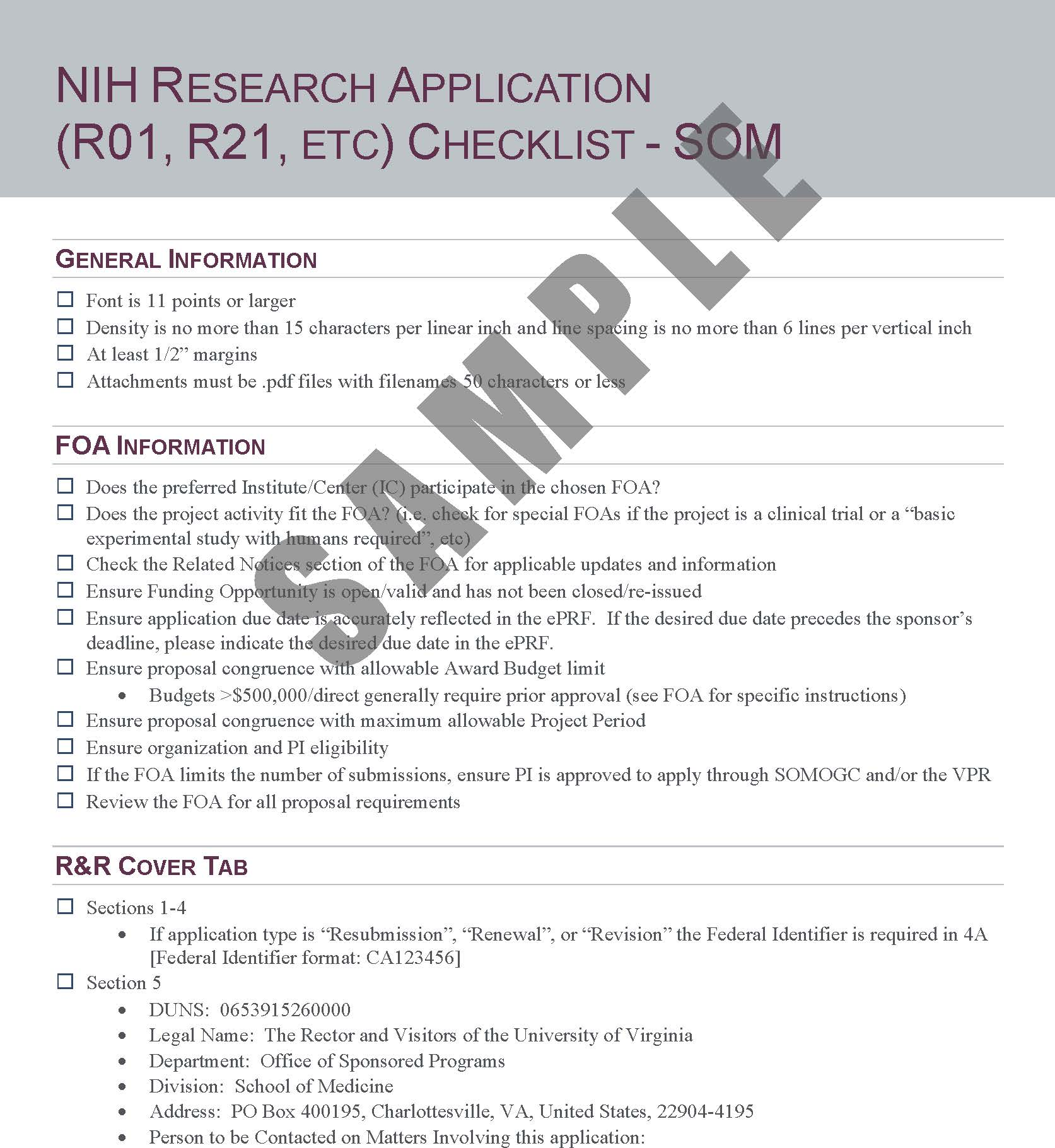 NIH Standard Research Award Checklist