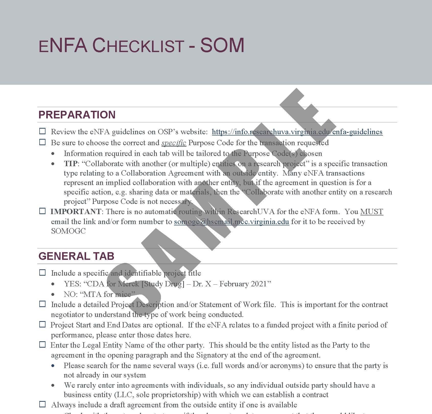 eNFA Checklist