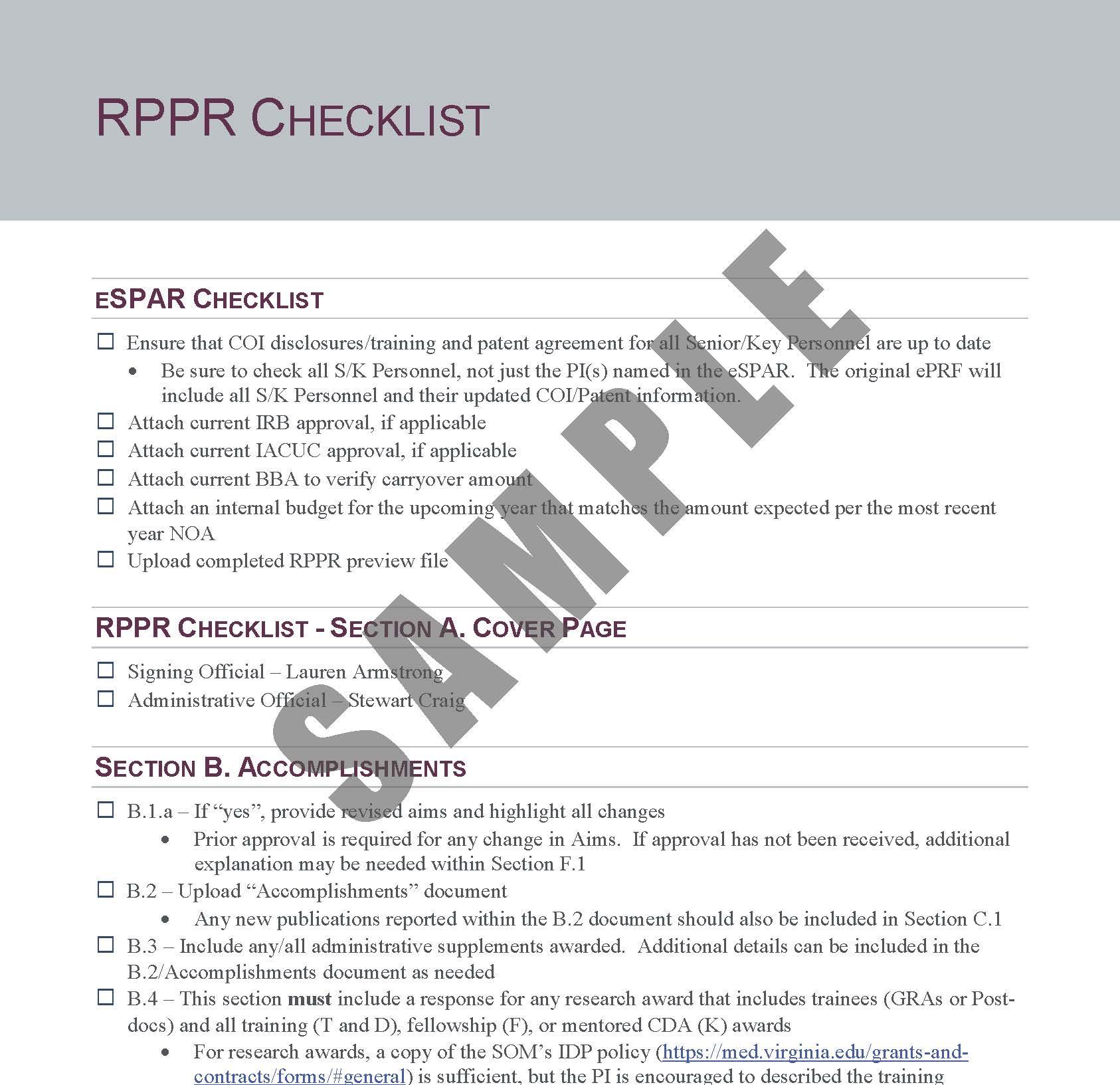 RPPR Checklist