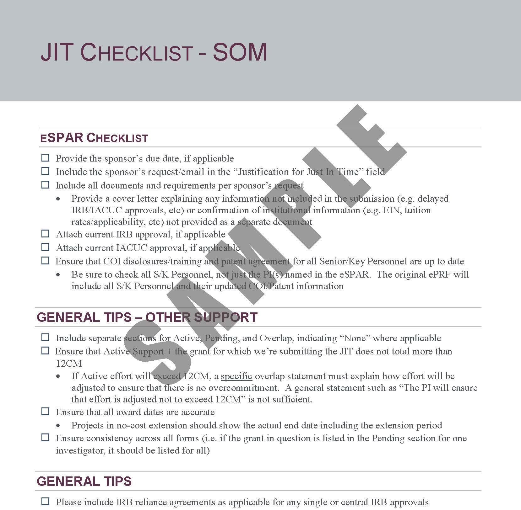 JIT Checklist
