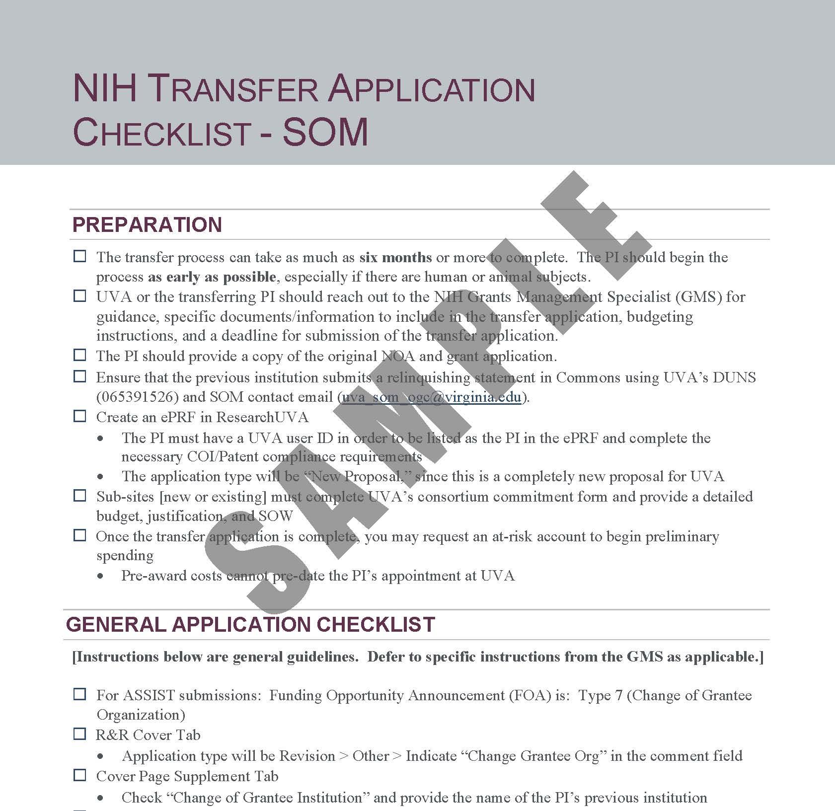 NIH Transfer Application Checklist