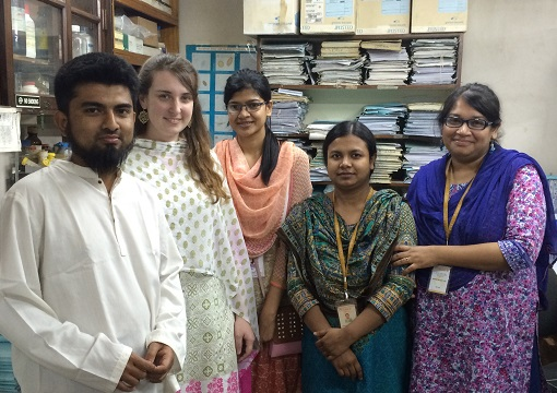 Allissia Gilmartin (2nd from left), MD/PhD student, with colleagues in Bangladesh.