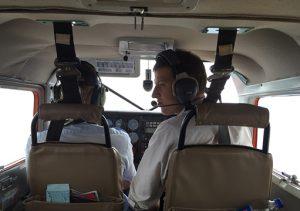 Image of James Platt-Mills in airplane