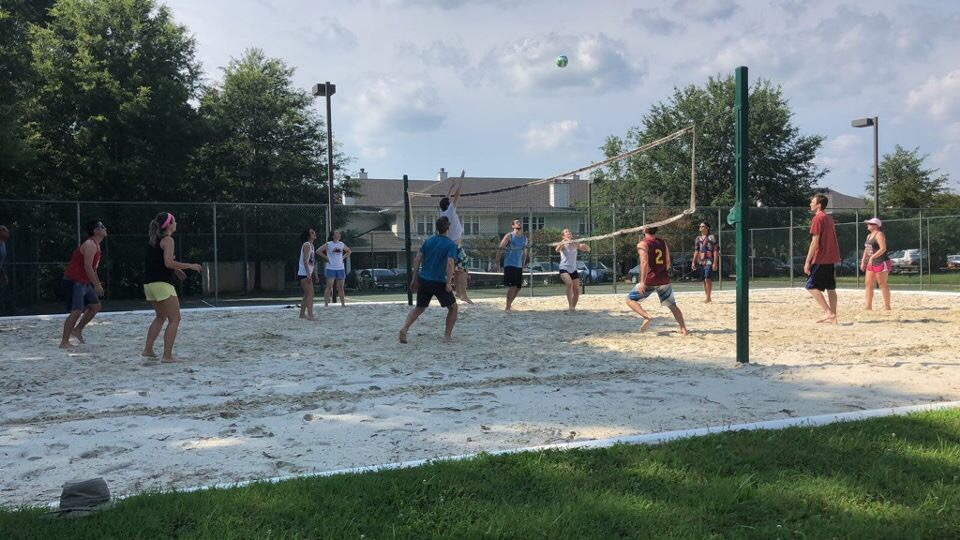residents playing volleyball
