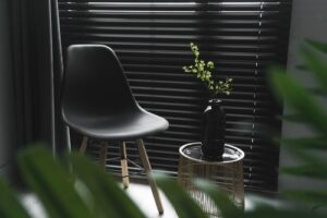 Black chair and plant