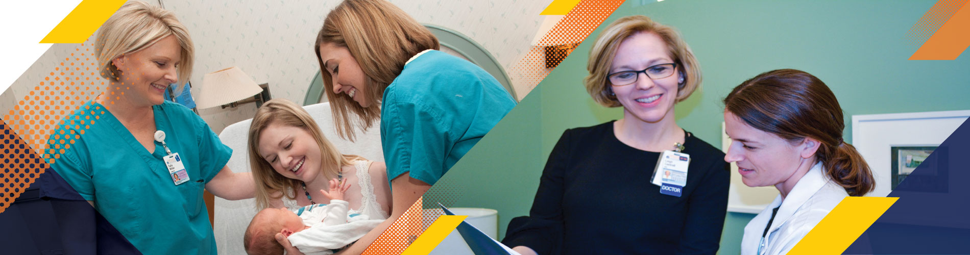 images of woman with baby next to doctor looking at papers at uva