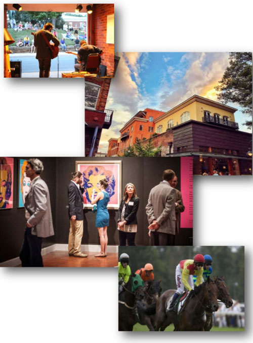 Collage of four photos: guitarist, obgyn building, obgyn staff at art show, and horse jockeys