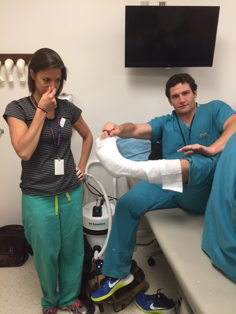 Emily Cushnie and Ian Dempsey refine their ankle splinting technique