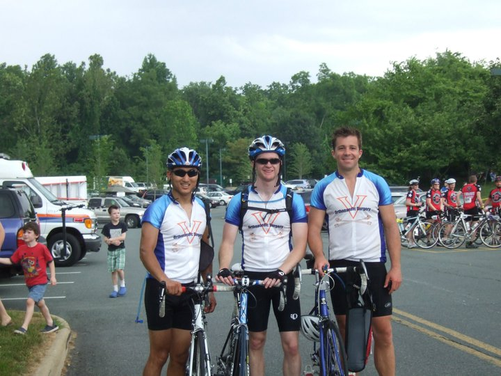 Scott Yang, Brian Werner, and Tom Keller participating in the Charlottesville Bike MS Tour De Vine.