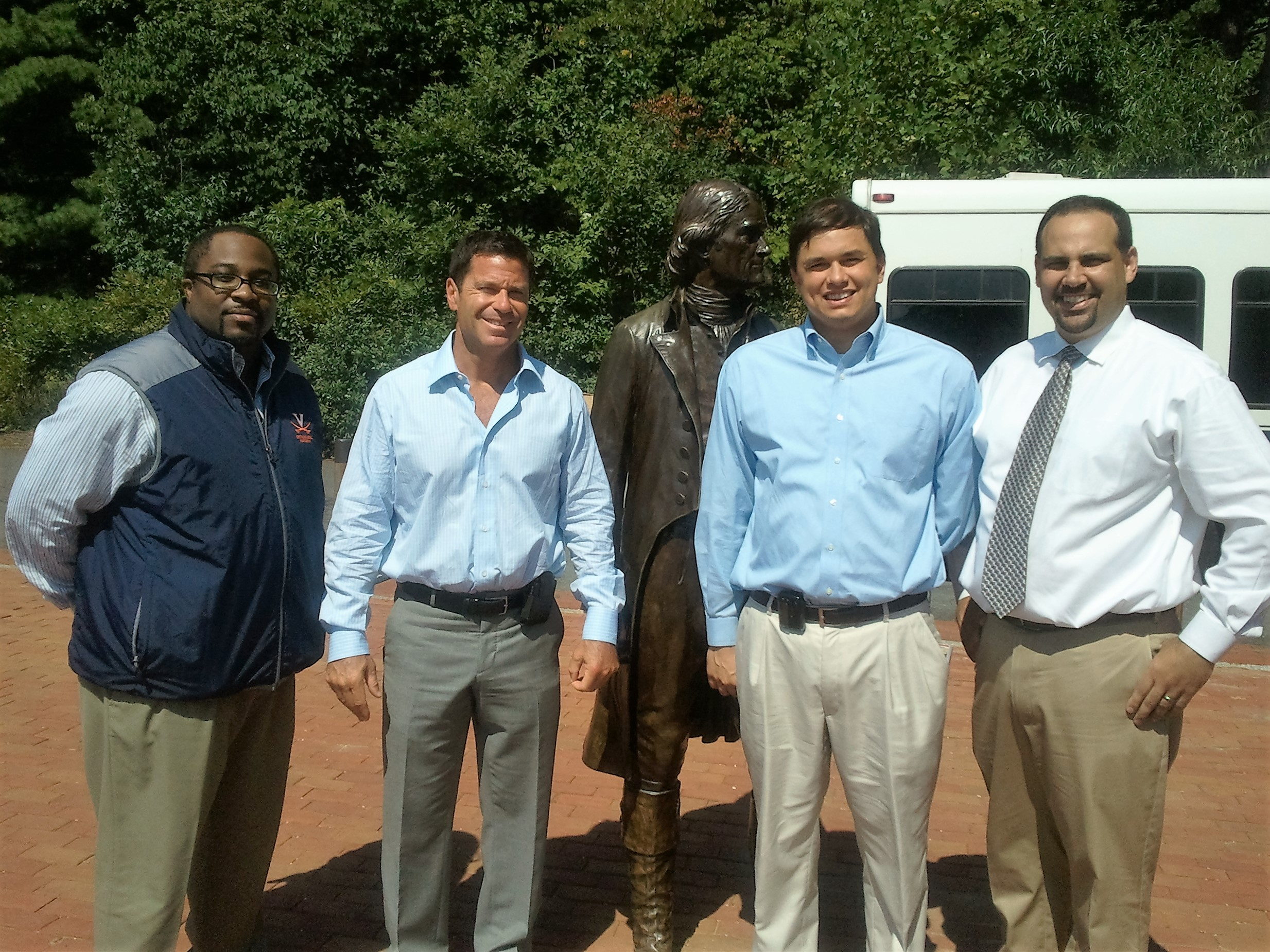 Residents MaC Hogan, Winston Gwathmey, and Marc Haro with Dr. Brian Cole visiting Monticello