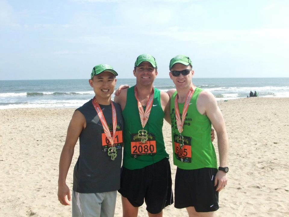 Scott Yang, Brian Werner, and Tom Keller after the Virginia Beach Marathon.