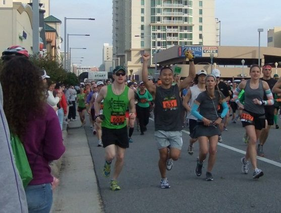 Scott Yang and Brian Werner racing in the Virginia Beach marathon.