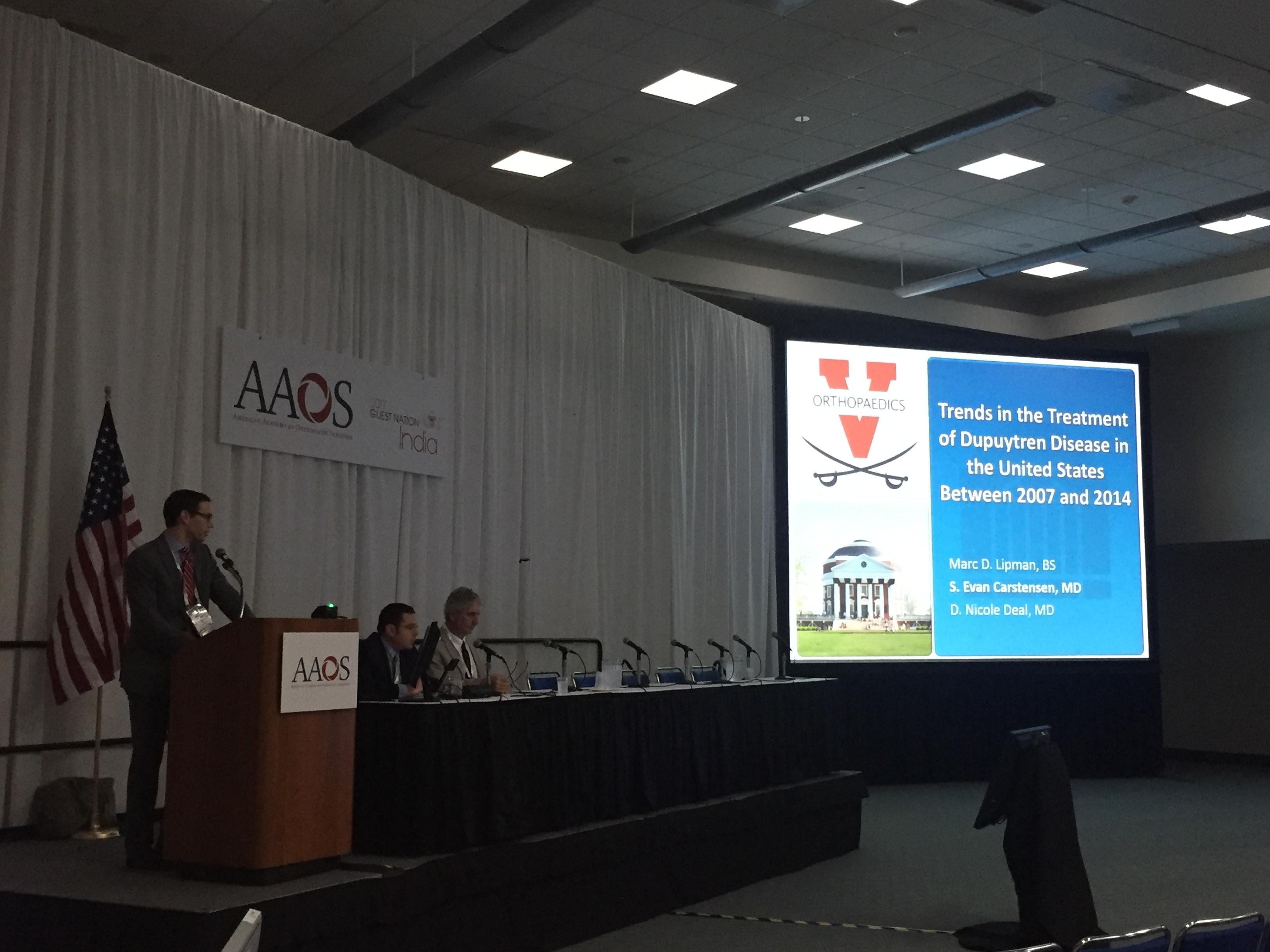 Evan Carstensen presenting his research at the AAOS Annual Meeting in San Diego