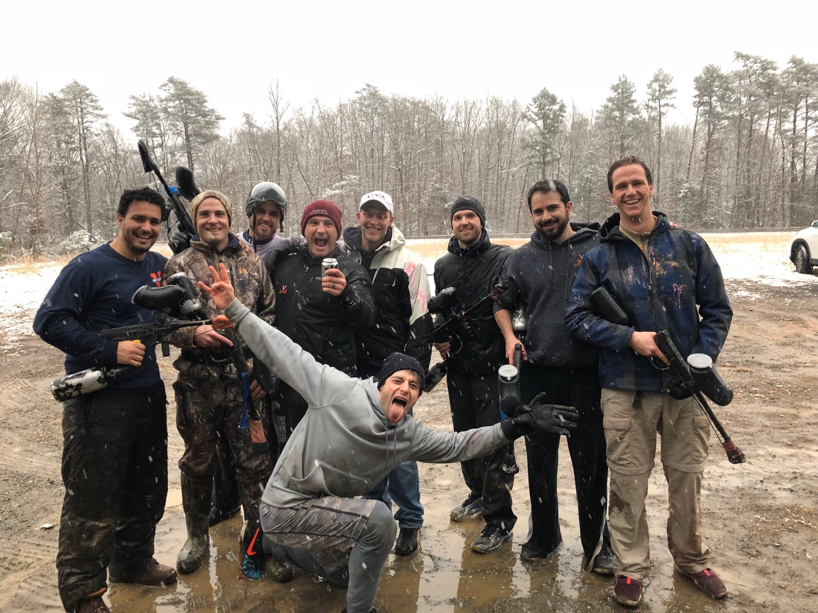 Resident paintball on a snowy day.