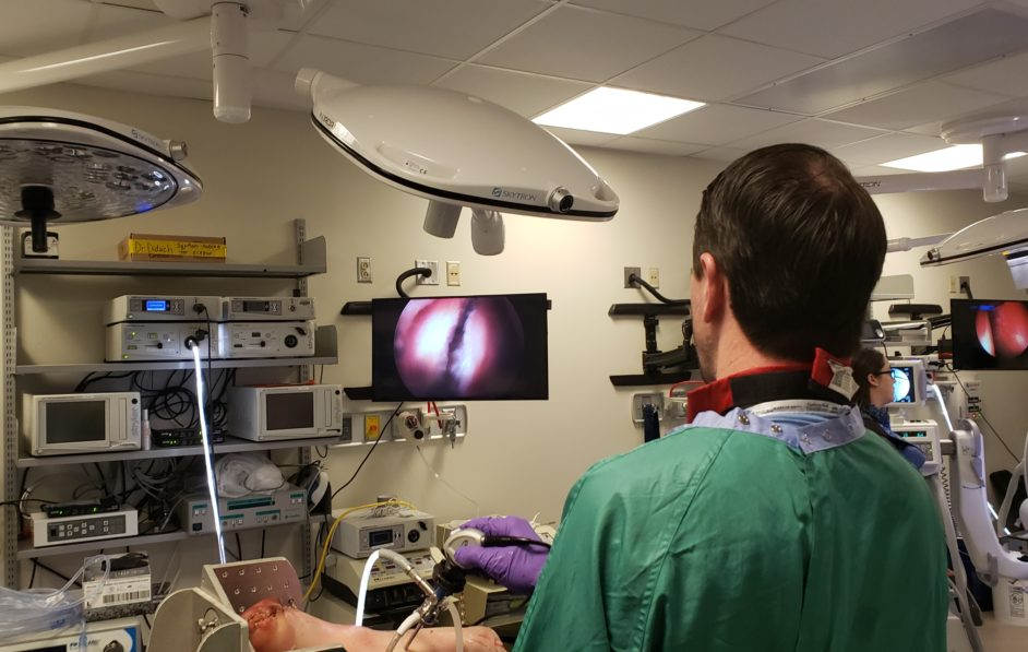 Mike Smith working on capsular preparation during a hip arthroscopy lab in the Surgical Skills Lab
