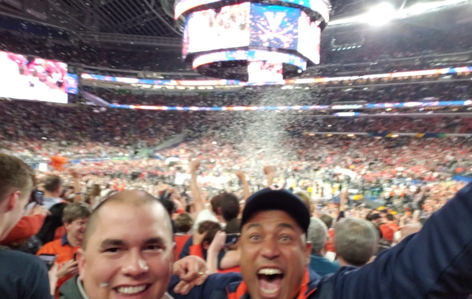 John Awowale helps the UVA basketball team bring back the National Championship Trophy