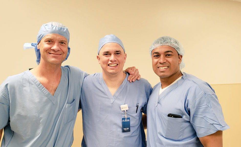 Drs. Awowale and Gwathmey visit with Dr. Chris Larson in Minneapolis