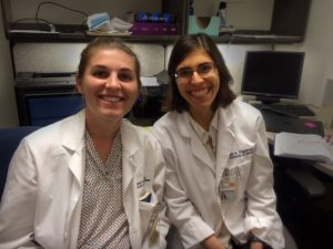 Margaret Moore (left) and Lisa Friedman (Right) our first summer medical student interns participating in the Don Innes Pathology Summer Enrichment program