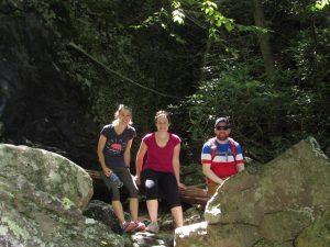 Residents hiking at White Rock Falls