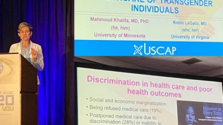 Dr. LeGallo presenting session at USCAP on Healthcare of Transgender Individuals