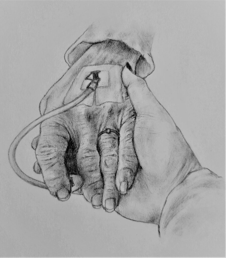 Charcoal drawing of young hand holding older hand with cannula.