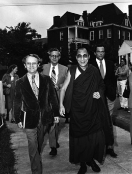 Photo by Edwin Roseberry November, 1979 The Dalai Lama toured the UVA Grounds with Dr. Ian Stevenson, (back left) and Prof. Jeffrey Hopkins (front left). Prof. Hopkins was the Dalai Lama's official interpreter from 1976 to 1996.