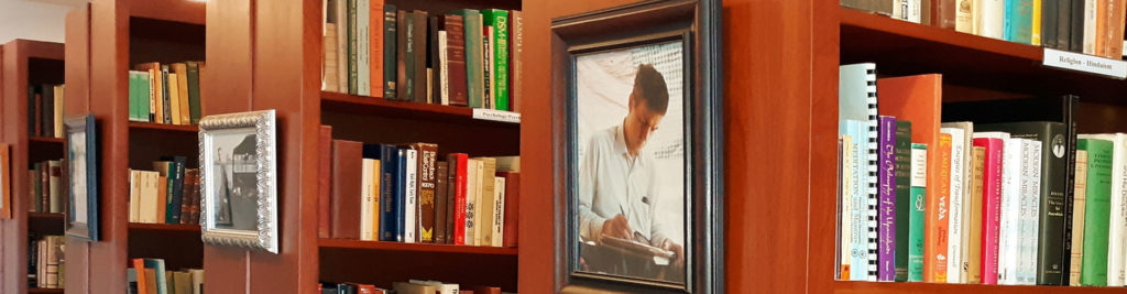 The DOPS library with a Photo of Dr. Ian Stevenson, our founder