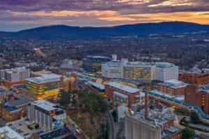 Panoramic aerial shot of the University of Virginia Main Hospital at dusk