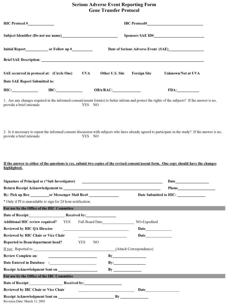 Serious Adverse Event Reporting Form